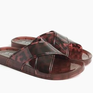NEW J. Crew Pool Criss-Cross Slides in tortoise